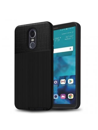 LG Aristo 3 Plus Cover Plus Combo Case Brushed Metal Finish Black Black