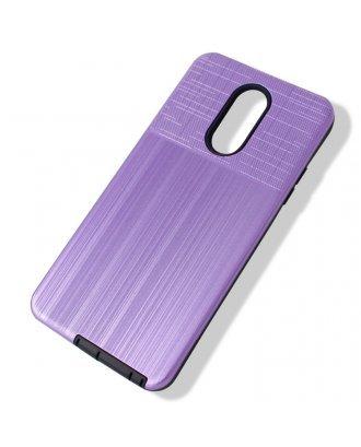 LG Aristo 3 Plus Cover Plus Combo Case Brushed Metal Finish Purple Black