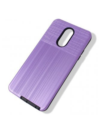 Samsung A01 Cover Plus Combo Case Brushed Metal Finish Purple Black
