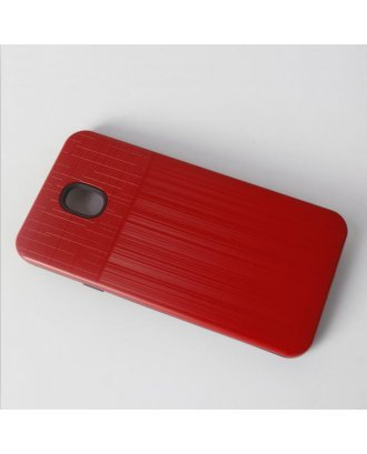 Samsung A01 Cover Plus Combo Case Brushed Metal Finish Red Black