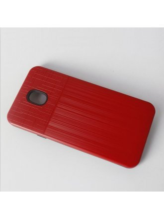 Apple iPhone 6 / 7 / 8 / SE 2020 Combo Case Brushed Metal Finish Red Black