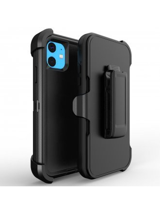 Apple iPhone 11 6.5 Pro Max Heavy Duty Armor Case Belt Clip Holster Case Black