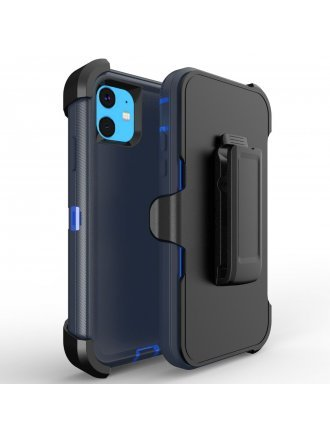 Apple iPhone 11 6.5 Pro Max Heavy Duty Armor Case Belt Clip Holster Case Durt Blue