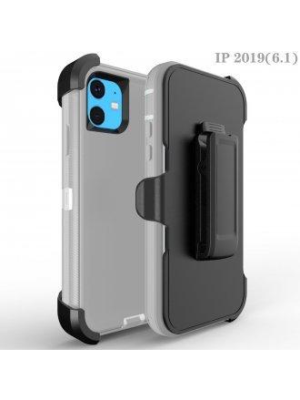 Apple iPhone 11 6.1 Heavy Duty Armor Case Belt Clip Holster Case Grey