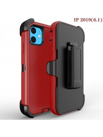 Apple iPhone 11 6.1 Heavy Duty Armor Case Belt Clip Holster Case Red