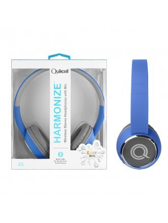 Quikcell Color Burst Harmonize Wireless Stereo Headphones with Mic - Blue Blaze