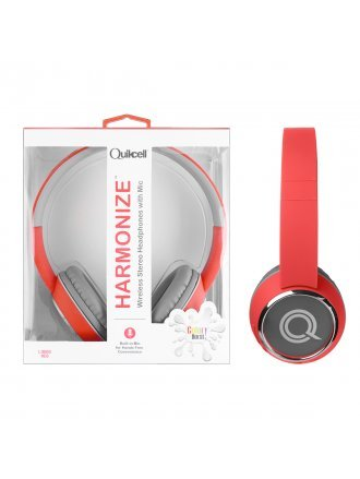 Quikcell Color Burst Harmonize Wireless Stereo Headphones with Mic - Liquid Red
