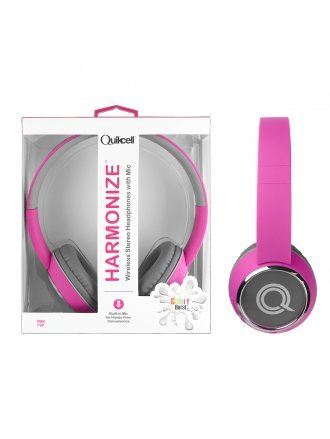 Quikcell Color Burst Harmonize Wireless Stereo Headphones with Mic - Pink Pop