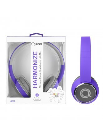 Quikcell Color Burst Harmonize Wireless Stereo Headphones with Mic - Purple Passion