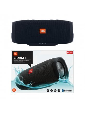 JBL Charge 3 Waterproof Portable Bluetooth Speaker - Black