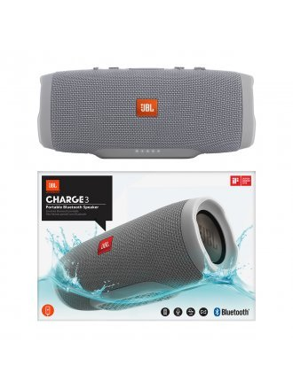JBL Charge 3 Waterproof Portable Bluetooth Speaker - Grey