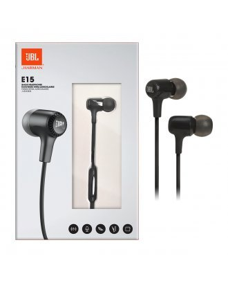 JBL E15 In-Ear Wired Headphones with Microphone - Black