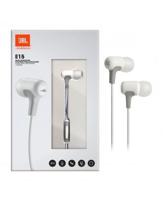 JBL E15 In-Ear Wired Headphones with Microphone - White