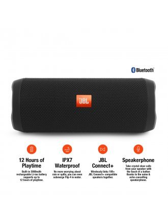 JBL FLIP4 Waterproof Portable Bluetooth Speaker - Black