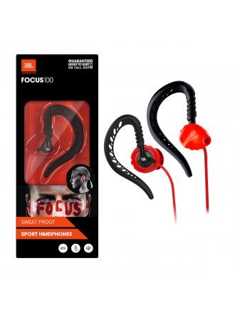 JBL Focus 100 Behind-The-Ear Wired Sport Headphones - Red/Black