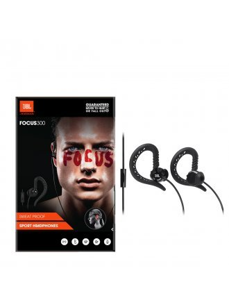 JBL Focus 300 Behind-The-Ear Wired Sport Headphones with Microphone - Black