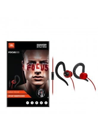 JBL Focus 300 Behind-The-Ear Wired Sport Headphones with Microphone - Red/Black