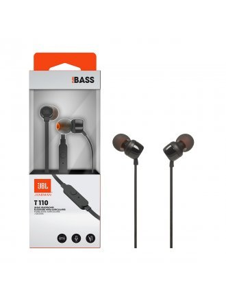 JBL T110 In-ear Wired Headphones with Mic - Black