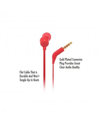 JBL T110 In-ear Wired Headphones with Mic - Red