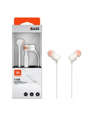 JBL T110 In-ear Wired Headphones with Mic - White