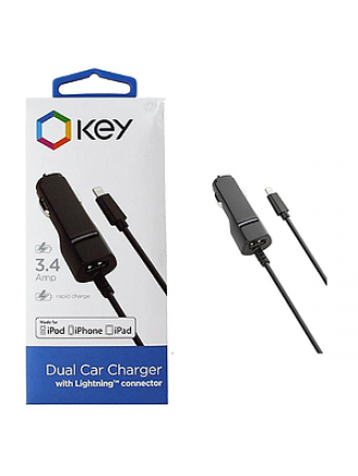 KEY 3.4 AMP DUAL OUTPUT LIGHTNING CAR CHARGER