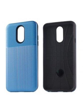 LG K40 Combo Case Brushed Metal Finish Blue Black