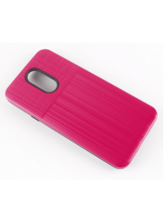 LG K40 Combo Case Brushed Metal Finish Pink Black