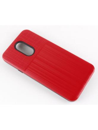 LG K40 Combo Case Brushed Metal Finish Red Black