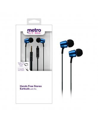 Metro by T-Mobile Hands Free Stereo Earbuds with Mic - Blue