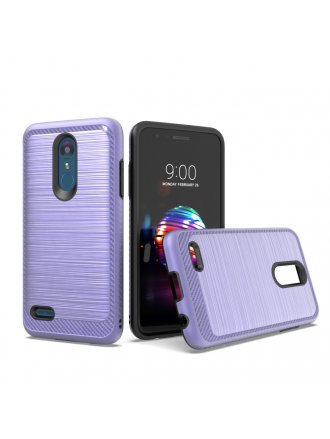 LG K10 2018/ K30/ Premier Pro LTE/ Harmony 2/ Phoenix Plus - New Brushed Metal Case PURPLE - BLACK