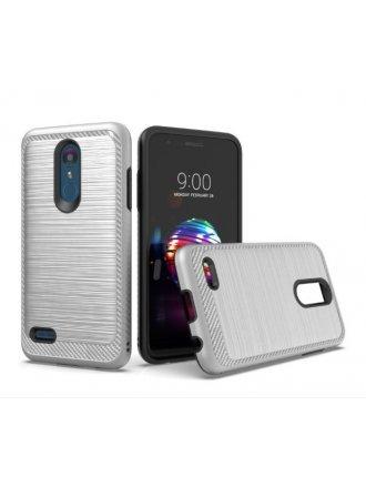 LG K10 2018/ K30/ Premier Pro LTE/ Harmony 2/ Phoenix Plus - New Brushed Metal Case SILVER - BLACK