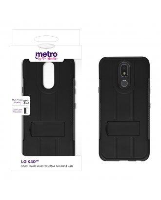 Metro by T-Mobile LG K40 KICK+ Dual-Layer Protective Kickstand Case - Black/Gray