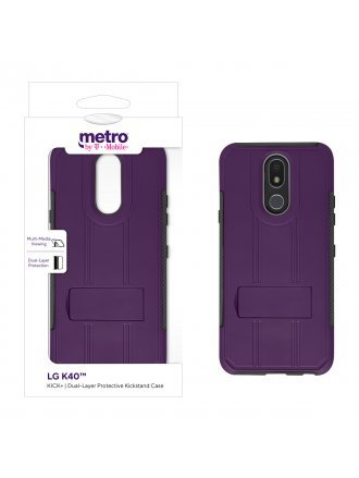 Metro by T-Mobile LG K40 KICK+ Dual-Layer Protective Kickstand Case - Purple/Gray