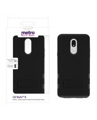 Metro by T-Mobile LG Stylo 5 KICK+ Dual-Layer Protective Kickstand Case - Black/Gray