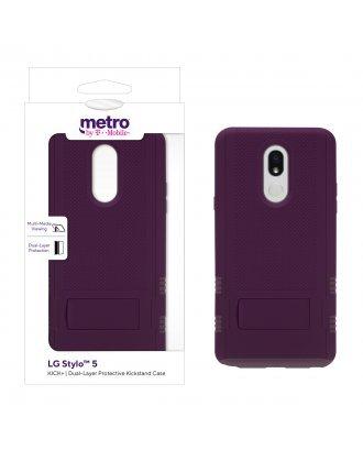 Metro by T-Mobile LG Stylo 5 KICK+ Dual-Layer Protective Kickstand Case -Purple/Light Purple