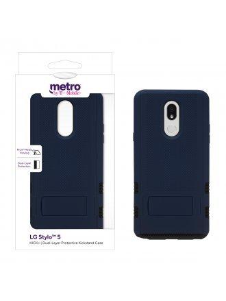 Metro by T-Mobile LG Stylo 5 KICK+ Dual-Layer Protective Kickstand Case -Blue/Black