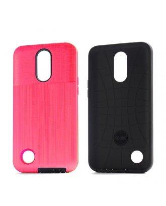 LG K40 Cover Plus Combo Case Brushed Metal Finish Pink Black