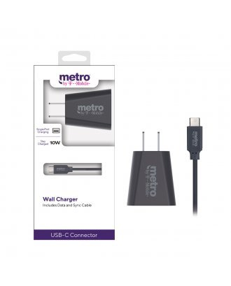 Metro by T-Mobile 10W Wall Charger with USB-C Data Cable - Gray