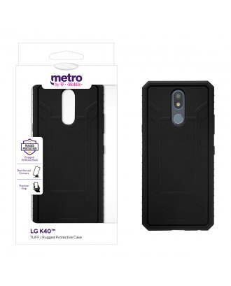 Metro by T-Mobile LG K40 TUFF Rugged Protective Case – Black