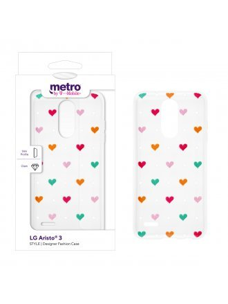 Metro by T-Mobile LG Aristo 3 STYLE Designer Fashion Case - Spotted Hearts